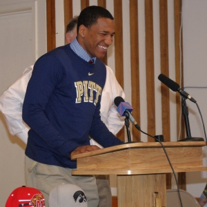 The Avalon School's running back Rachid Ibrahim stands at a podium during a school assembly on February 6, 2013 in Gaithersburg, Md., where he announced his intentions to play football at the University of Pittsburgh.