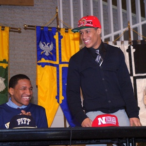 The Avalon School's Jacquille Veii, right, is flanked by teammate Rachid Ibrahim during a school assembly on February 6, 2013 in Gaithersburg, Md., where he announced his intentions to play football at the University of Maryland.
