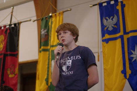 "Carroll House eighth grader Danny Tobin recites ""Anthem For The Doomed Youth"" in the a poetry competition for the All Saints Day Festival at The Avalon School on Nov. 1, 2013."