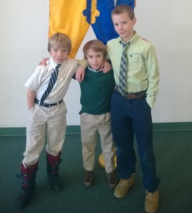 The Smith brothers, Seamus, Phinias and Riley, gather together Thursday for what is their last full day as students at the Avalon school in Gaithersburg Md.