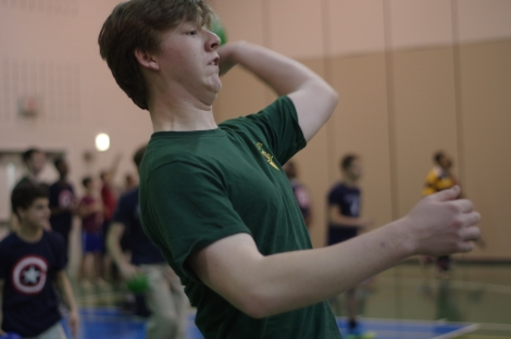 Calvert House senior Conor Sloan throws a ball during The Avalon School's Feast of St. Thomas Aquinas Dodgeball Tournament at Bohrer Park in Gaithersburg, Md., on Jan. 28, 2015.
