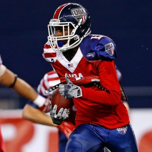 USA Football wide receiver Trevor Diggs runs the ball on a 75-yard play in the International Bowl at AT&T Stadium in Dallas, Texas, on Jan. 30, 2015. (Photo Credit/ Ron Jenkins)